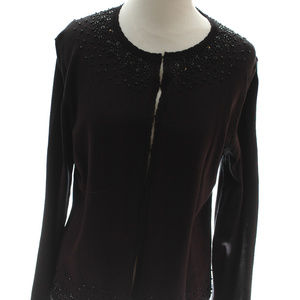 Kate Hill Silk Beaded Sequins Sweater Cardigan M